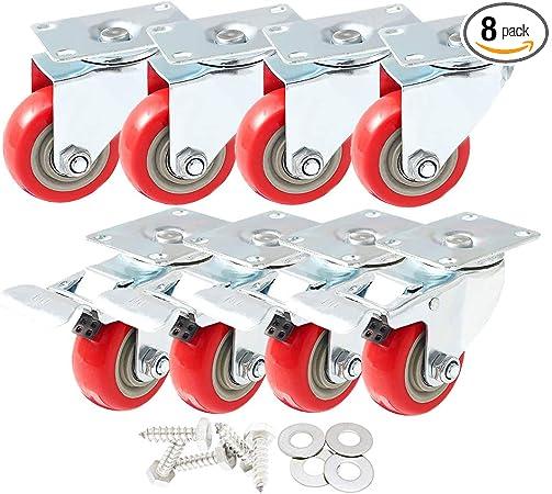 "8 Pack 4/"" Caster Wheels Swivel Plate Total Lock Brake Red Polyurethane PU"