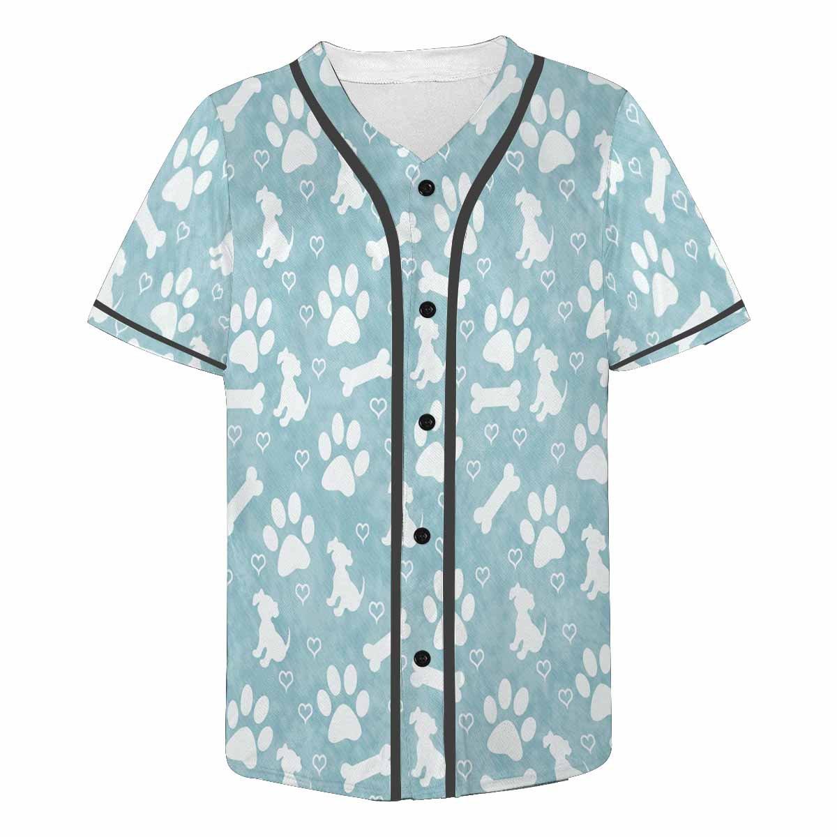 INTERESTPRINT Mens Button Down Baseball Jersey Dog Paw Prints and Hearts