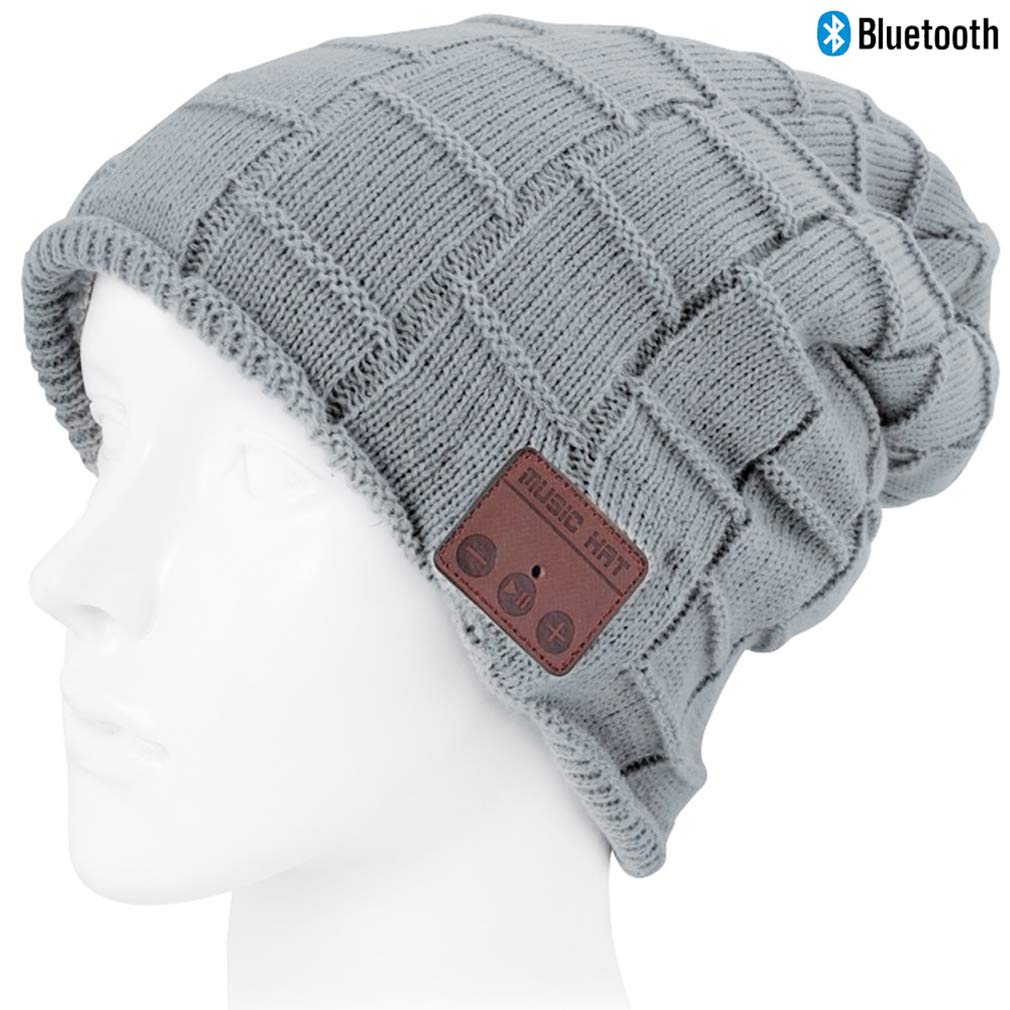 Bluetooth Beanie hat, Wireless 4.2 Bluetooth Hat with Bluetooth Headphones Supports Hands-Free HD Music Calling, Charged via USB,Washable Soft Warm Thick, Light Gray
