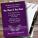 Rustic Vintage Wood Butterfly Purple Personalized Wedding Invitations