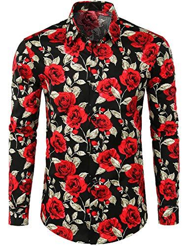 JOGAL Men's Flower Paisley Cotton Long Sleeve Casual Button Down Shirt Small A335L BlackRose