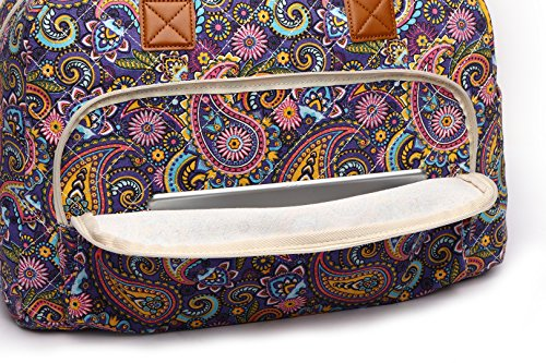 Malirona Canvas Overnight Bag Women Weekender Bag Carry On Travel Duffel Bag Floral (Purple Flower) by Malirona (Image #5)