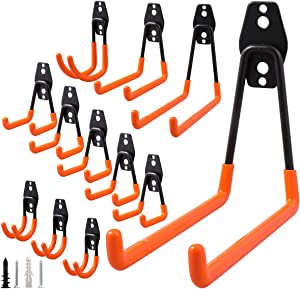 CZC HOME 12 Pack Garage Hooks Hangers Wall Mounting Garage Storage Hooks Anti-Slip Wall Hook Utility Heavy Duty Tool Hooks for Organizing Ladders Brooms Shovels Mops Rakes Fit Garage Garden Shop