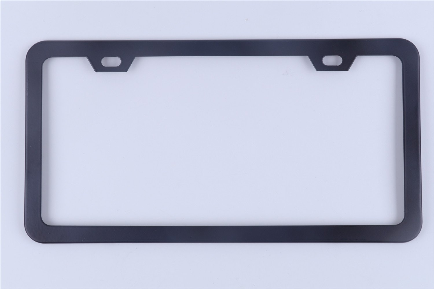 Tokept Black Stainless Steel License Plate Frame 2 Holes with Cushion,Do not Block Tag Pack of 2