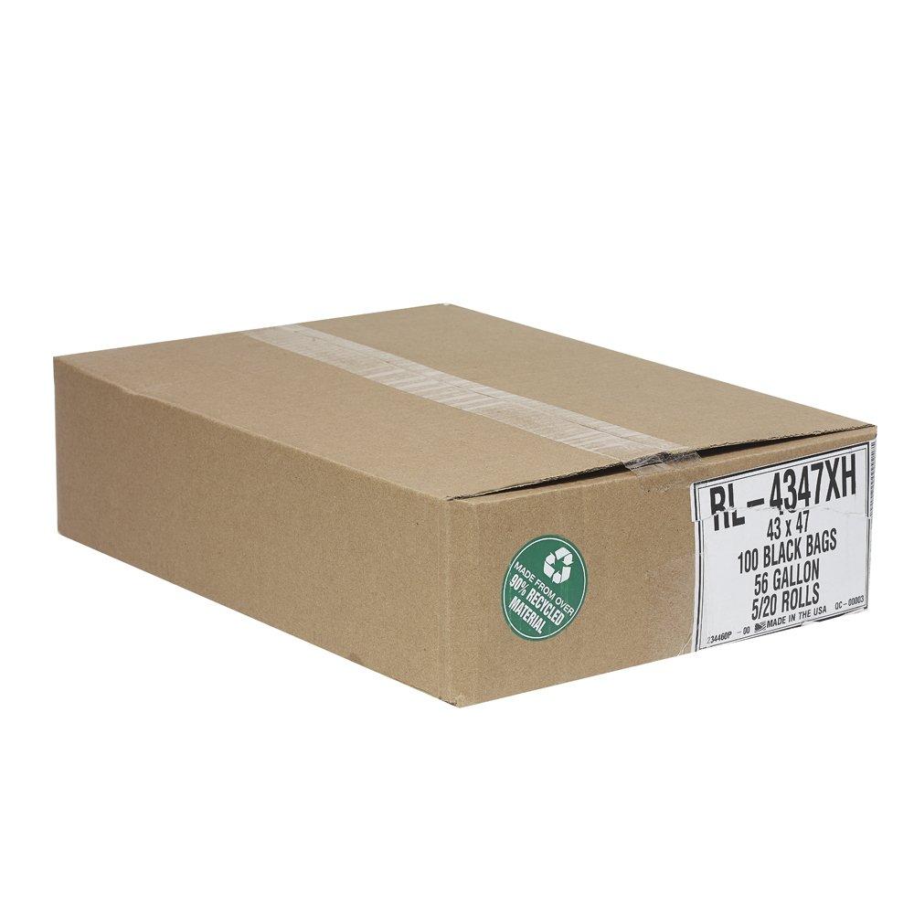 Aluf Plastics RL-4347XH T-Tough Roll Pack Low Density Repro Blend Star Seal Coreless Rolls Bag, 56 Gallon Capacity, 47'' Length x 43'' Width, XH Strength, Black (Pack of 100)