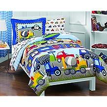 Dream Factory Trucks Tractors Cars Boys 5-Piece Comforter Sheet Set, Blue Red, Twin