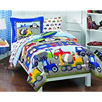 Dream Factory Trucks Tractors Cars Boys 5-Piece Comforter...