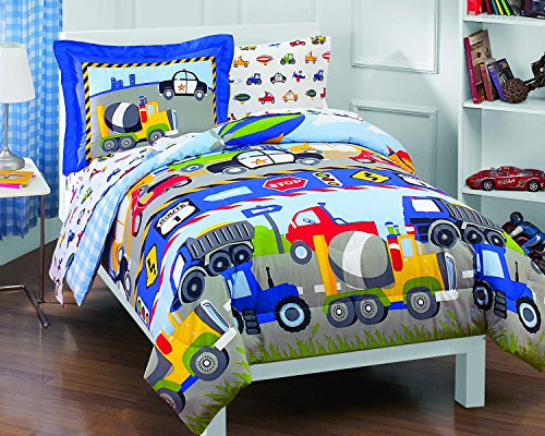 Dream Factory Trucks Tractors Cars Boys 5-Piece Comforter Sheet Set, Blue Red, Twin (Transportation Kids Bedding)
