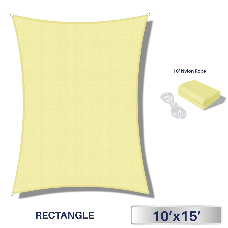 Windscreen4less Terylene Waterproof Sun Shade Sail UV Blocker Triangle Sunshade Patio Canopy Sail 10' x 15' in Color Canary Yellow - Customized Sizes