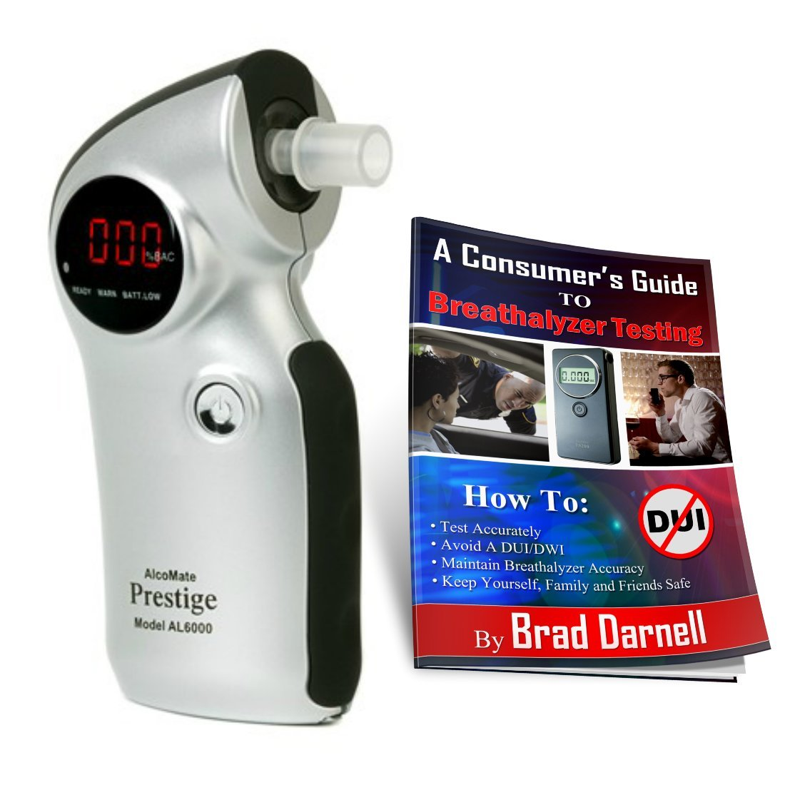 AlcoMate Prestige AL6000 (Silver) Breathalyzer and FREE Breathalyzer Tester Guide - NEVER Needs Factory Calibration - FREE 2-3 Day Air Shipping! by BreathalyzersUSA