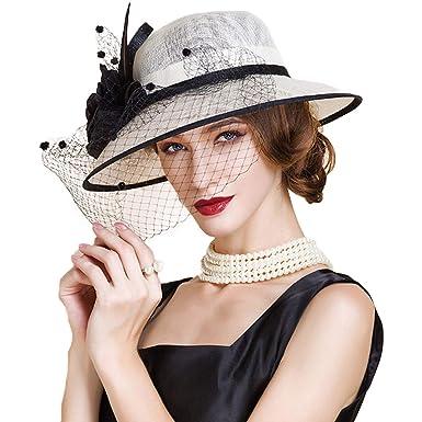 6291c8d00 Women Fascinators Kentucky Derby Hats Ladies Church Hat Sinamay Wide ...