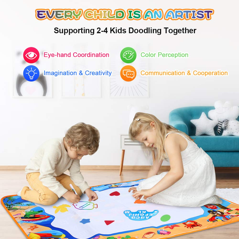 Aqua Doodle Mat - Large Aqua Magic Painting Writing Doodle Board Kids Toy - Coloring Painting Educational Drawing Mats Xmas Gift for Toddlers Boys Girls 1 2 3 4 5 6 7 8 9 10 11 12 Year Old 40''x 28''