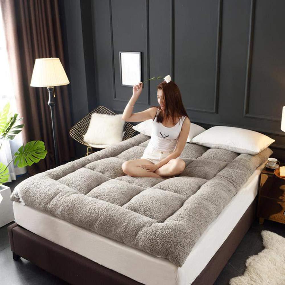 A W180xH220cm(71x87inch) Lambs Mattress, Tatami Mattress Student Soft Cushion Warm Thickness Constant Folding Single Double Elasticated Corner Straps-C W150xH200cm(59x79inch)