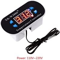 Fogun AC 110V-220V C/F Digital Thermostat, Temperature Alarm Controller Sensor W1308