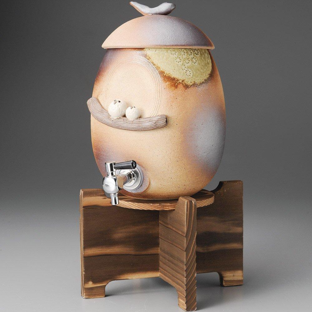 ペアふくろうサーバー(焼杉台付)(信楽焼) [16 x 21 x 36cm 2,200㏄ 2200g] 【焼酎サーバー】 | 料亭 旅館 和食器 飲食店 おしゃれ 食器 業務用 B01NH5KXIV