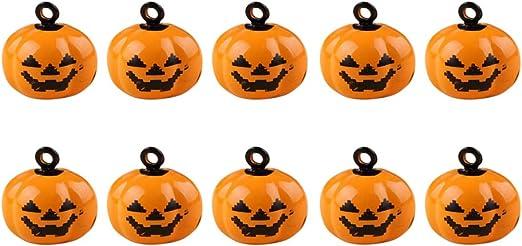 Liitrton 10 Pack Halloween Mini Pumpkin Bells Jack-O-Lanterns Ornaments Creative DIY Decorations (Style1)