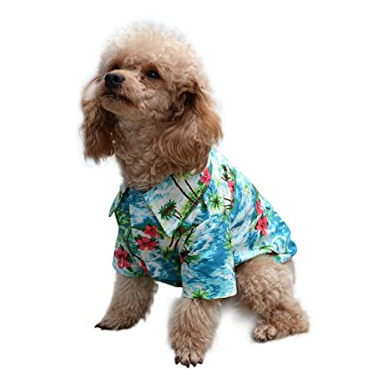2d45437d Amazon.com : EXPAWLORER Hawaiian Pet Dog Polo T Shirts Cute for Small to  Medium Puppy Cats Cool Summer Custom Vest : Pet Supplies