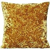 Paoletti Roma Crushed Velvet Cushion Cover, Ochre, 50 x 50 Cm