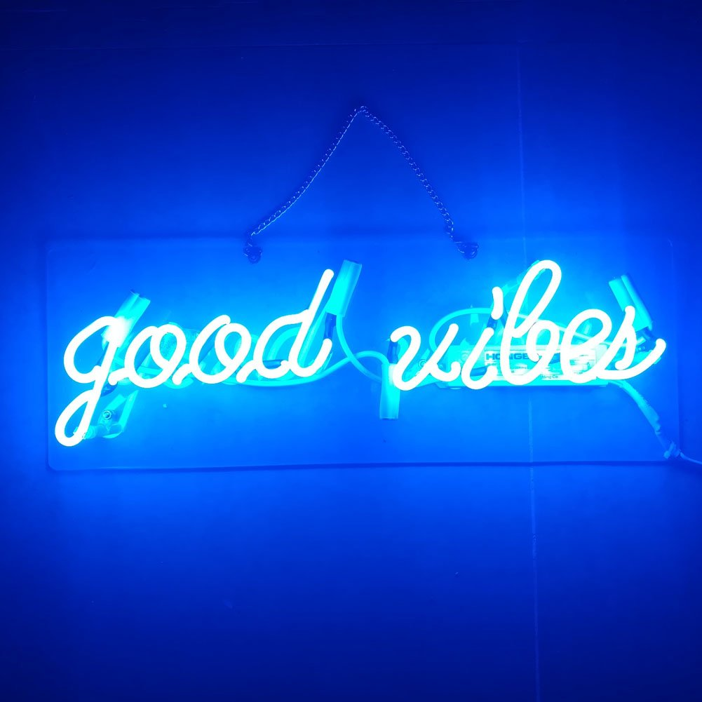 LiQi BLUE ' GOOD VIBES ' Real Glass Handmade Neon Wall Signs for Home Decor Wall Light Room Decor Home Bedroom Girls Pub Hotel Beach Cocktail Recreational Game Room (19'' x 6'')