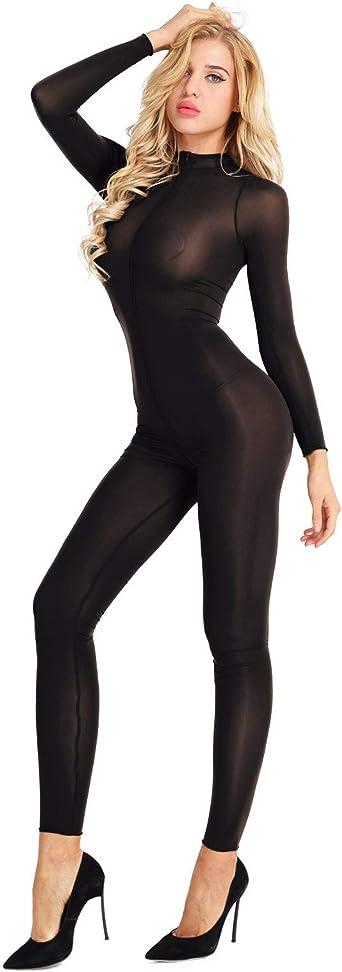 Womens Mesh Sheer Bodystocking Zipper Turtleneck Teddy Catsuit Bodysuit Lingerie