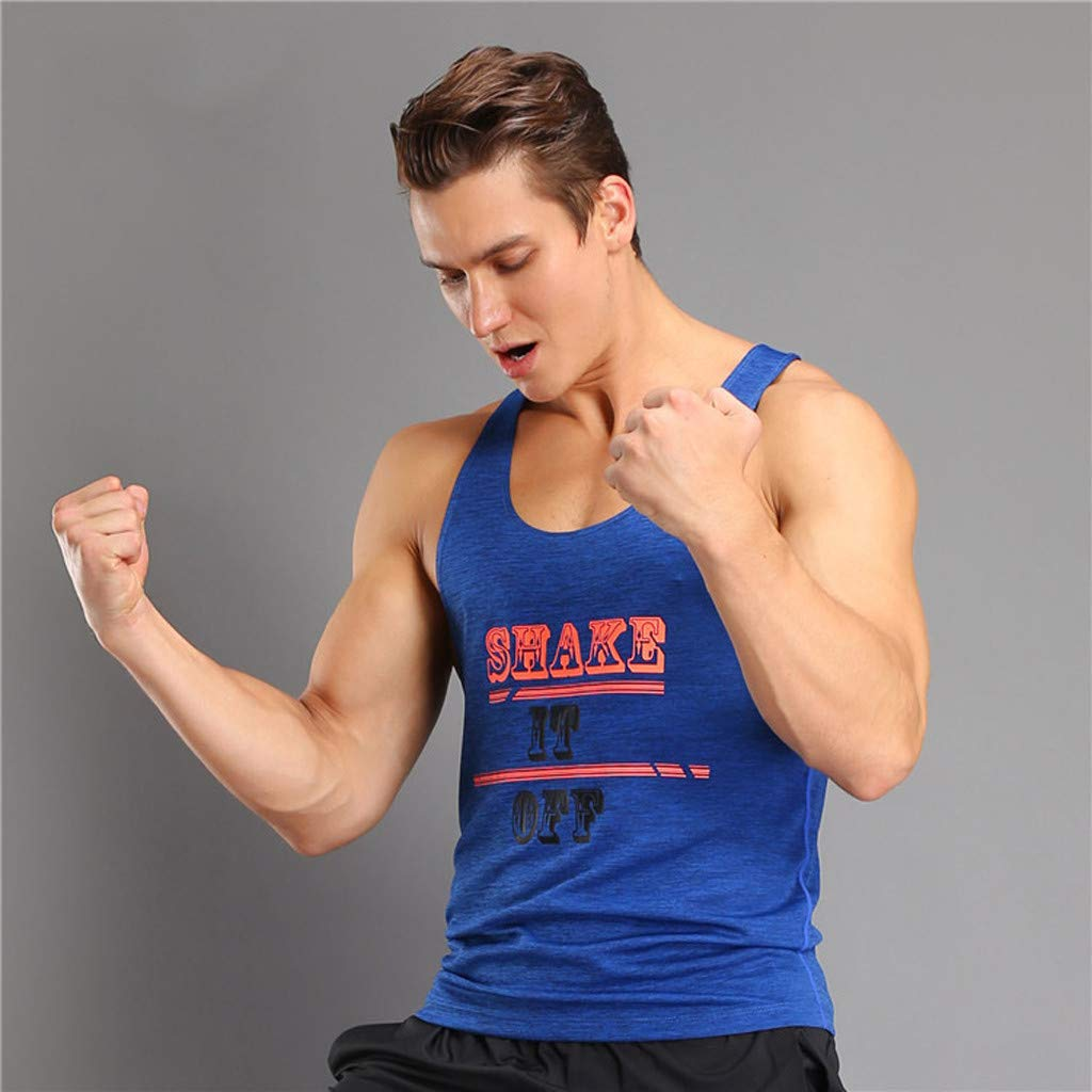 Mens Shake IT Off Graphic Print Tank Tops Athletic Training Sport Vest Ultra Soft T-Shirt Quick-Dry Muscle Tank
