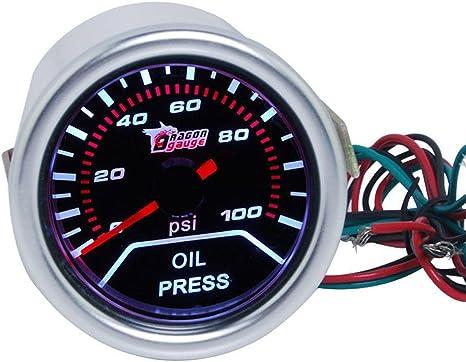 Supmico 52mm Weiß Led Licht Kfz Auto Öldruck Anzeige Oil Pressure Anzeige Instrument Gauge Meter Rauchfarbe Len Messgerät Auto