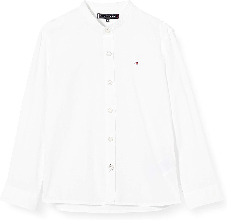 3-4 Anni Tommy Hilfiger Essential Linen Shirt L//s Camicia Taglia Unica: 4 Bianco Bambino White 658//170 Ybr