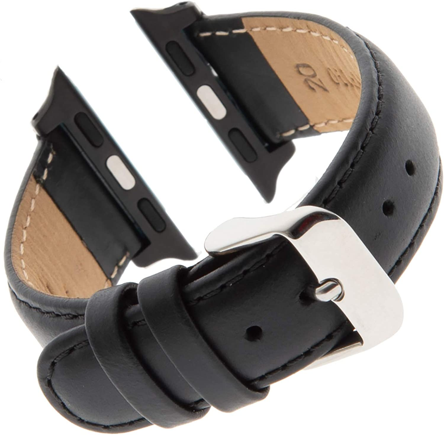Gilden for Apple 38mm/40mm Water-Resistant Oilskin Stitched Black Watch Strap MSW63-SMART