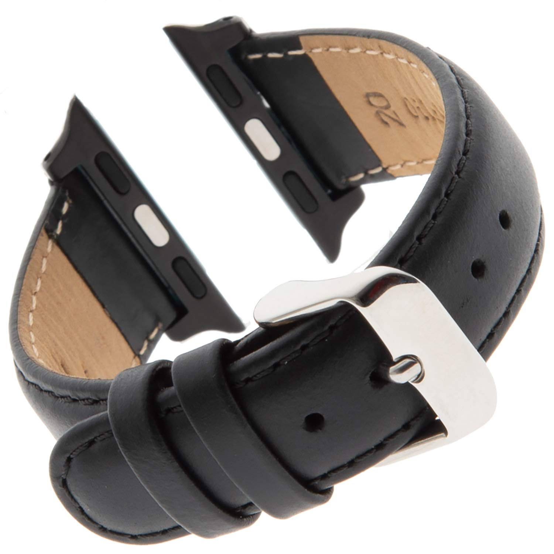 Gilden for Apple 38mm Water-Resistant Oilskin Stitched Black Watch Strap MSW63-SMART (Standard Length, Black)