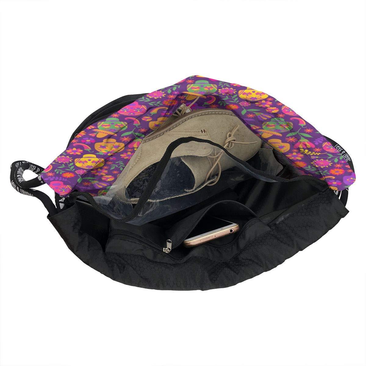 HUOPR5Q Dia-de-Los-Muertos Drawstring Backpack Sport Gym Sack Shoulder Bulk Bag Dance Bag for School Travel