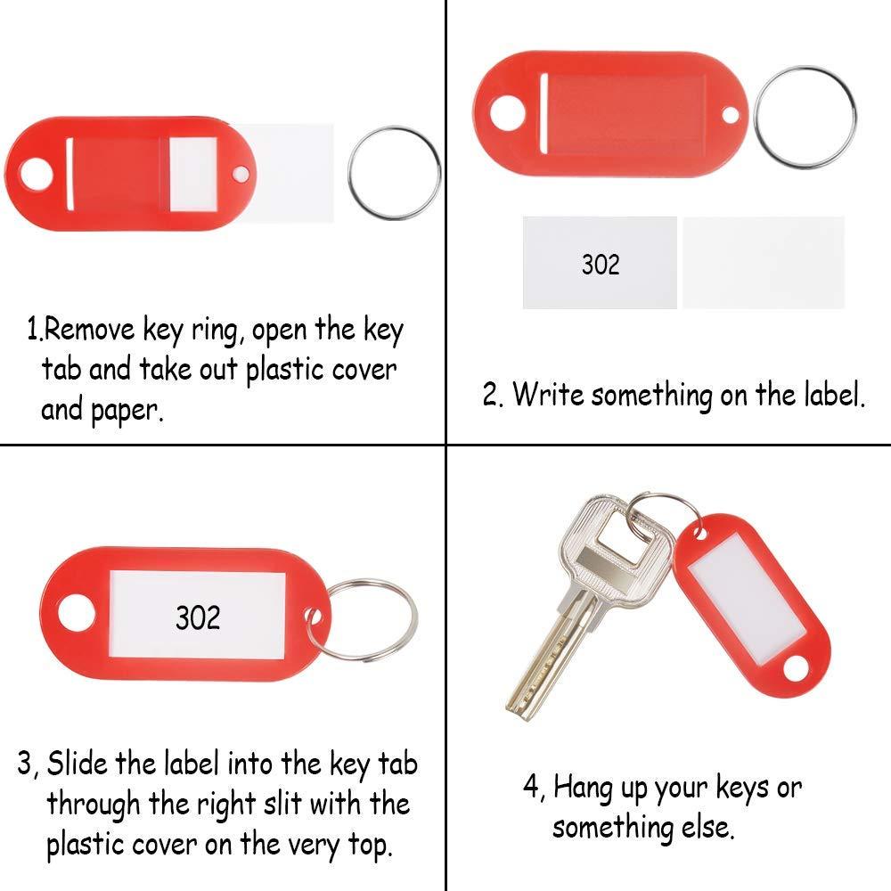 Rmeet Etiquetas con Llaveros Pl/ástico,100 Pack Etiquetas de Colores Transparentes Llavero de Identificaci/ón con Ventana Etiquetas para Oficina 10 Colores