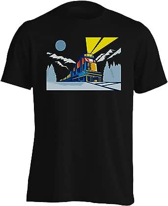 INNOGLEN Lokomotive Train Alaska Winter Mountains Camiseta de los Hombres d812m