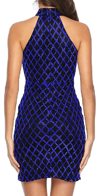 Joe Wenko Womens Sequins Keyhole Basic Sleeveless Party Halter Bodycon Dresses