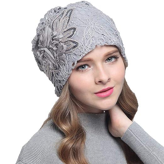 2337fd836 Amazon.com: Potelin 1PCS Winter Warm Casual Cap Lace Flower Pattern ...