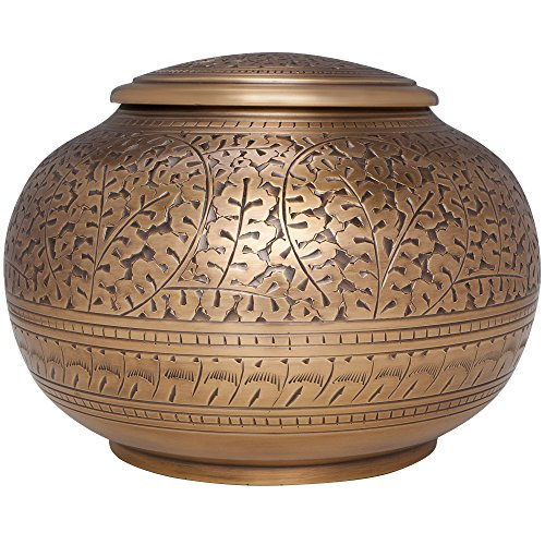 - Bronze Antique Brass Funeral Urn - Low Profile Vignette - Cremation Urn for Human Ashes - Hand Made in Brass - Suitable for Cemetery Burial or Niche - Large Size fits remains of Adults up to 180 lbs