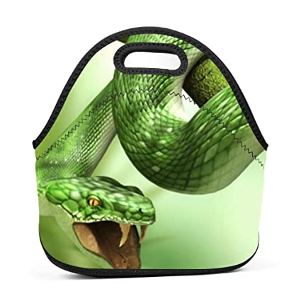 0ab10f4e7fc9 Amazon.com - SLBDBDMH Lunchbox Lunch Bag Snakes-Green Handbag ...
