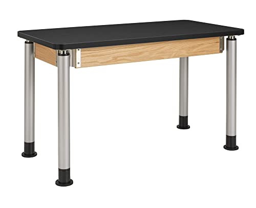Diversified Woodcraft P8101K UV Finish Plain Adjustable Height Table with Plastic Laminate Top, 48 Width x 39 Height x 24 Depth