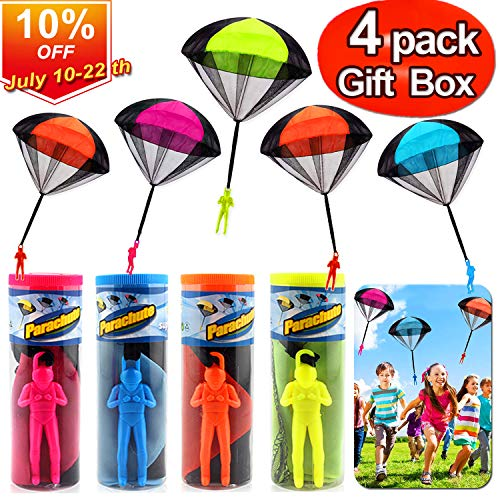 Parachute Toys - 4 Pack Tangle Free Hand Throwing Toy Outdoor Children Flying Parachute Toys No Batteries Flying Toys Skydiver Parachute Men with Launcher for Kids Holiday Activity Play Centers Toy