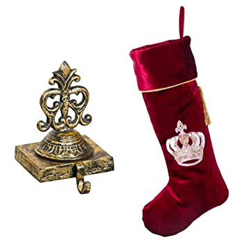 Luxus Weihnachtsstrumpf Set U2013 Schöne Distressed Gold Gusseisen  Weihnachtsstrumpf Halter Mit Luxus Designer Tief Rot Samt