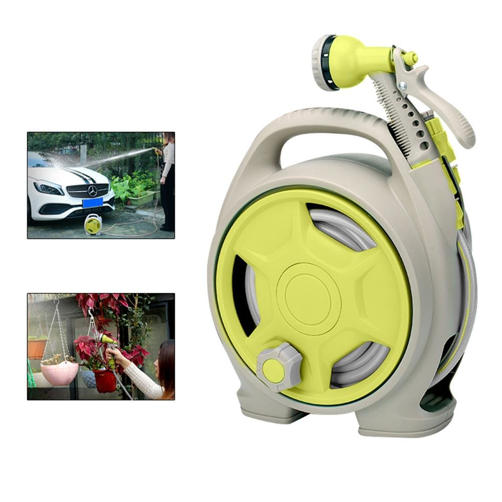 Aolvo Retractable Garden Water Hose Reel Wall Mount, Auto Automatic Garden Hose Reel, Any Length Lock, Car Washing, Watering Flowers, Showering Pets, Simple Storage, Ideal For Most Places - Green