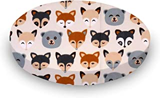 product image for SheetWorld 100% Cotton Flannel Round Crib Sheet, Woodland Animals, 42 x 42, Made in USA