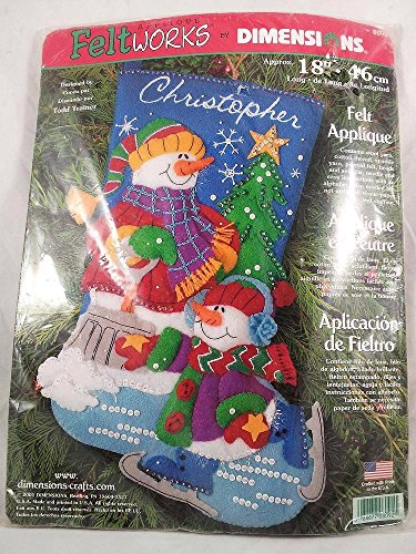 Dimensions Christmas Stocking Felt Applique Kit Craft Decoration Snowman 8092 Sequins Embroidery 18in Gift