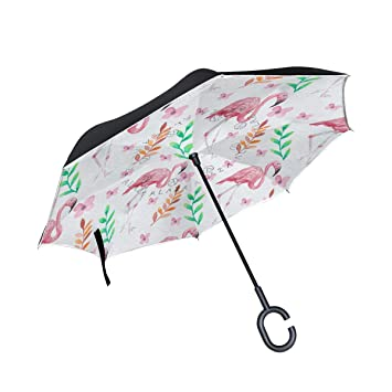 ALINLO Paraguas invertido patrón de flamencos Rosas, Doble Capa, Paraguas invertido, Impermeable,