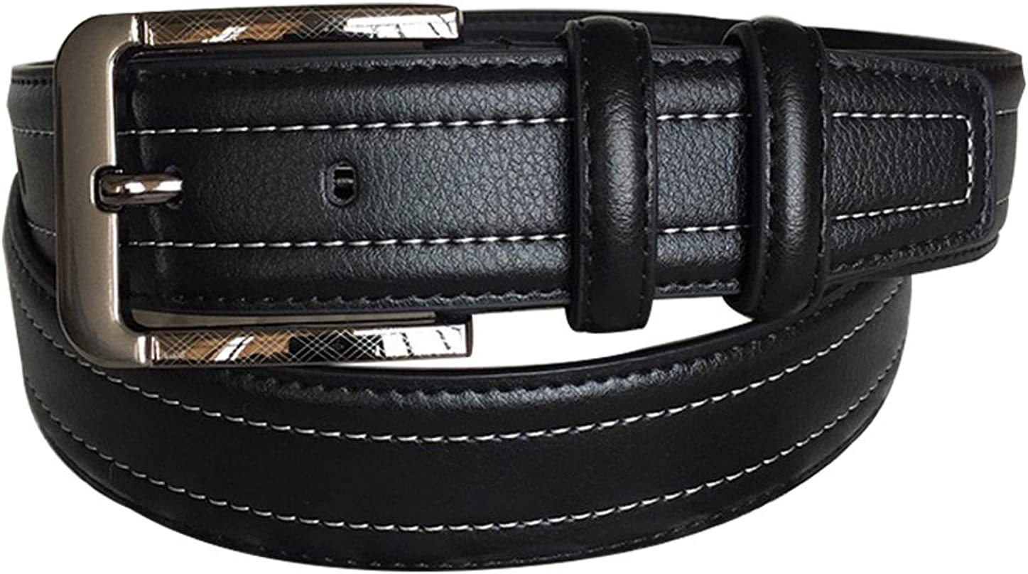 uxcell Men Black Single Pin Buckle Dress Leather Belt with Stitch Edge Width 1 1//2
