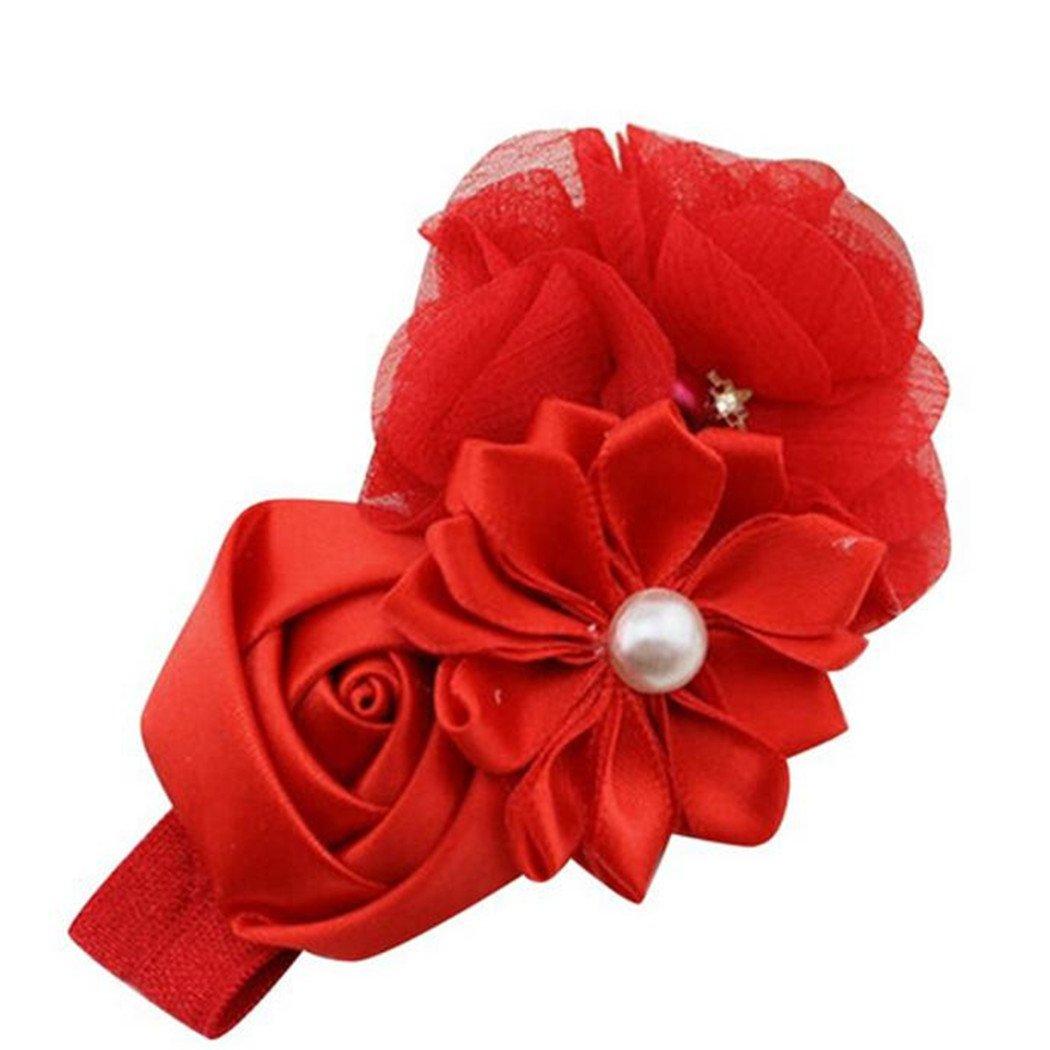 Vovotrade Mode Bébé Fille Fleur Perle Fleur Cheveux Band Bandeau Hairband Cheveux Accessoires (Rose) Vovotrade®