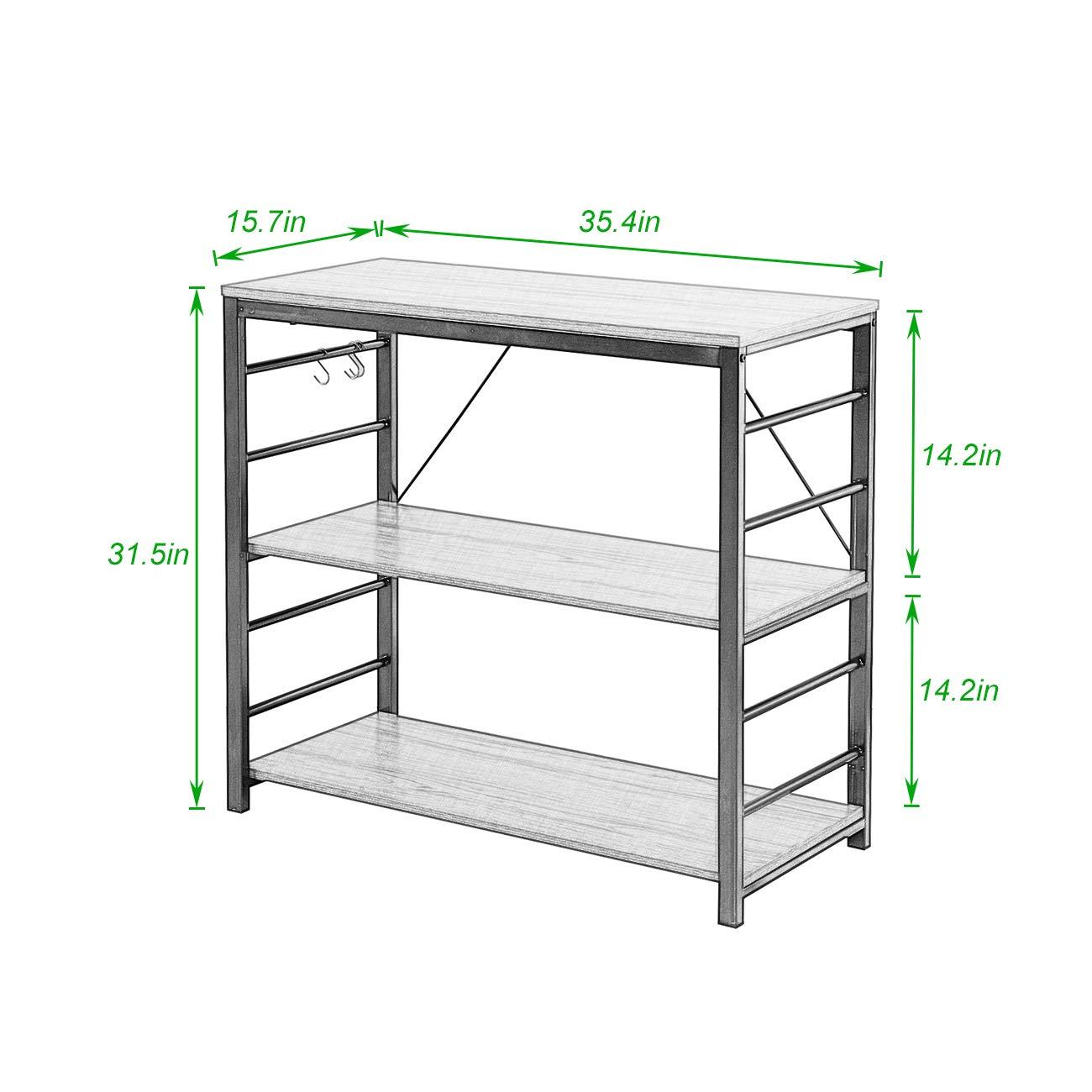 Kitchen Bakers Rack Utility Storage Shelf Microwave Stand for Spice Rack Organizer Shelf DlandHome Microwave Cart Stand LD-MR01BK