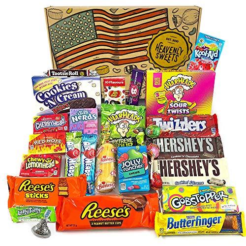 Großer Amerikanische Süßigkeiten Geschenkkorb | Süßigkeiten aus den USA | Auswahl beinhaltet Hersheys, Peanut Butter Cups, Jelly Belly, Jolly Rancher | 27 Produkte in einer tollen retro Geschenkebox