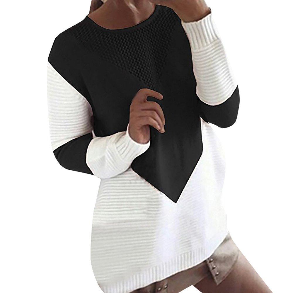 Shusuen Women's Color Block Textured Casual Sweater Black by Shusuen_Clothes