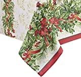 Newbridge Holly Ribbon Traditions Fabric Christmas Holiday Tablecloth, 60 x 120 inch Oblong