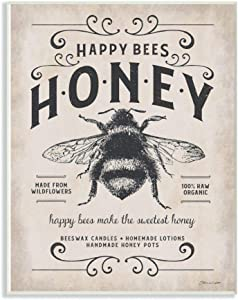 Stupell Industries Honey Bee Rustic Farm Textured Word Design Wall Plaque, 12 x 18, Multi-Color